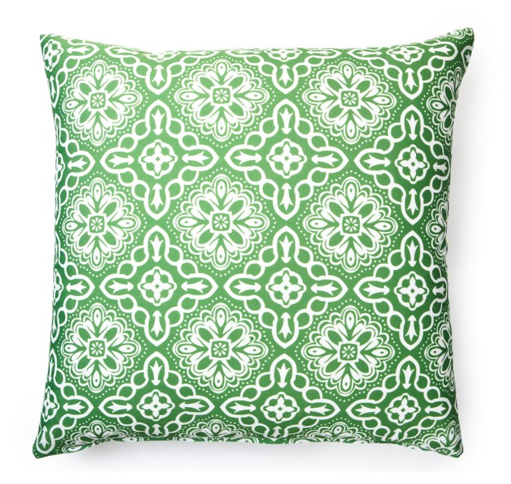 Tile 20x20 Outdoor Pillow, Green