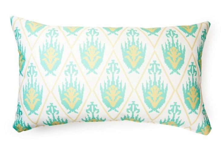 Ikat 14x24 Outdoor Pillow, Mint Green