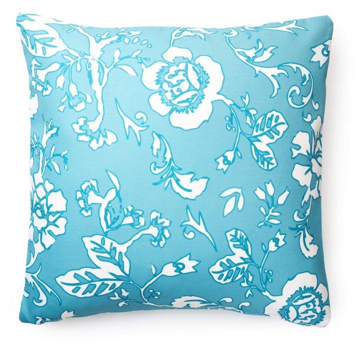 Blossom 20x20 Outdoor Pillow, Aqua