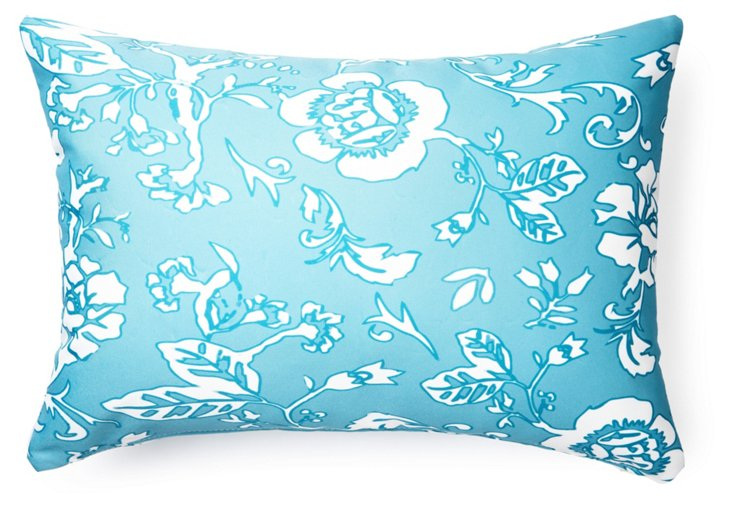 Blossom 14x20 Outdoor Pillow, Blue