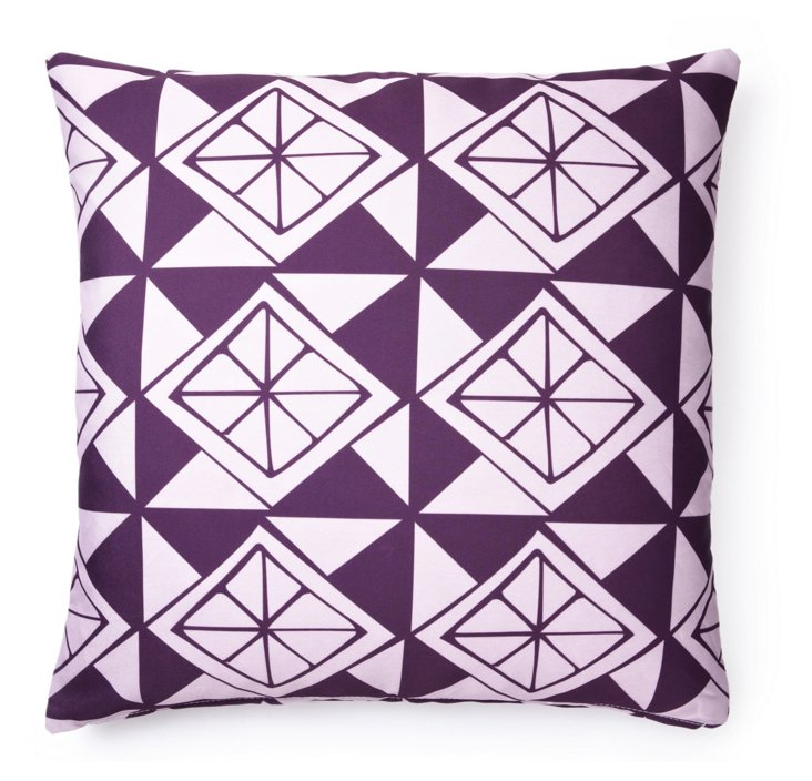 Slices 20x20 Outdoor Pillow, Purple