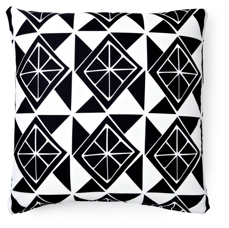 Slices 20x20 Outdoor Pillow, Black