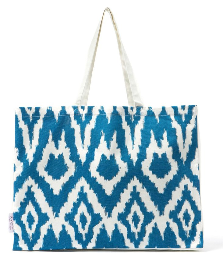 Ikat Cotton Market Tote, Blue
