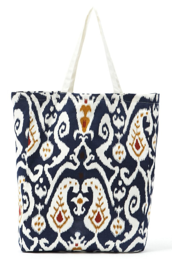 Ikat Cotton Tote, Navy