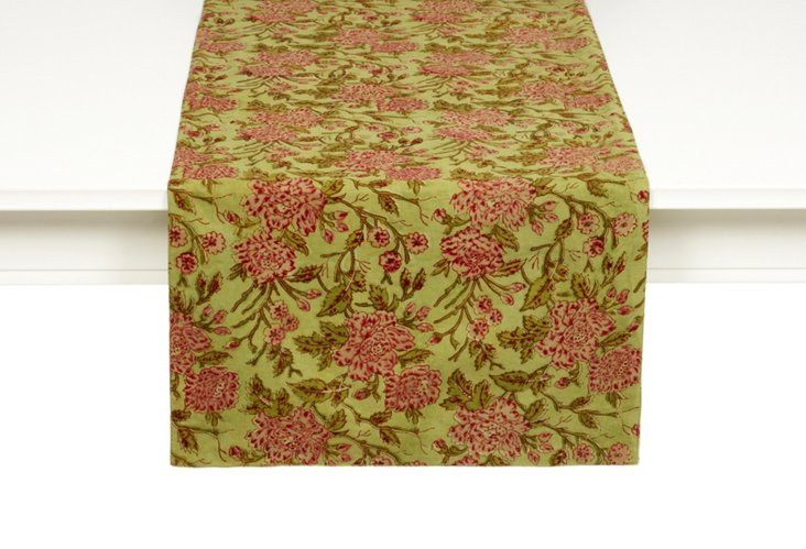 Floral Table Runner, Lime