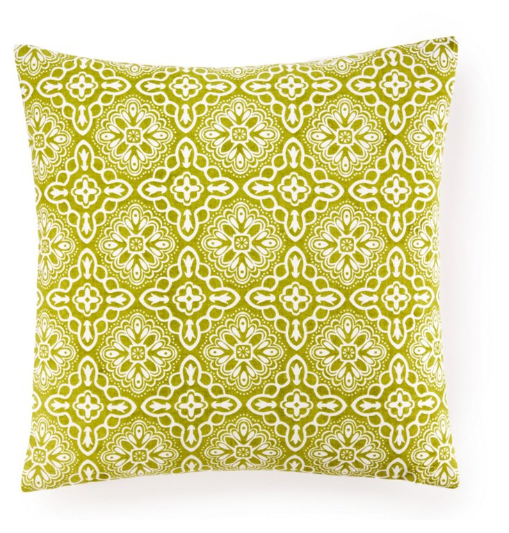 Haveli 20x20 Cotton Pillow, Green