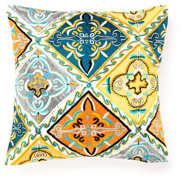 Dover 16x16 Embroidered Pillow, Blue