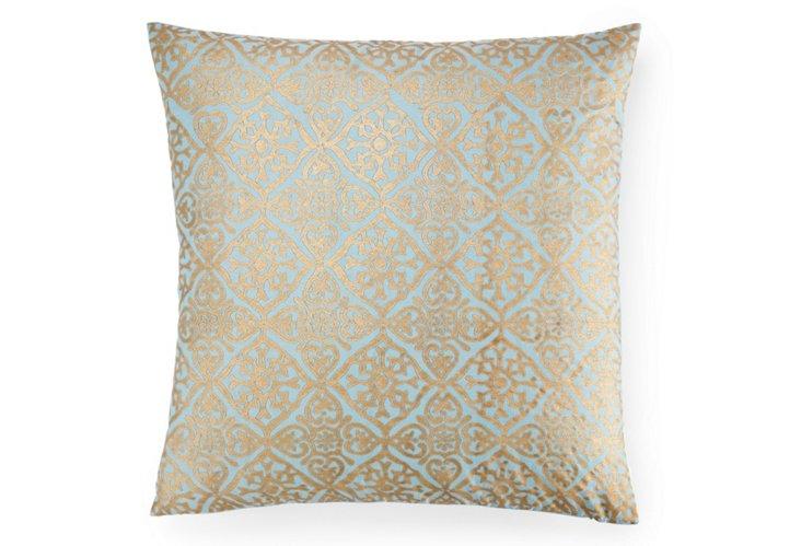 Khari 20x20 Pillow, Smoke Blue/Gold