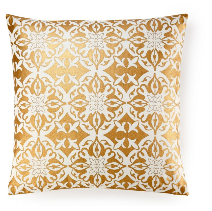 Khari 20x20 Cotton Pillow, Gold