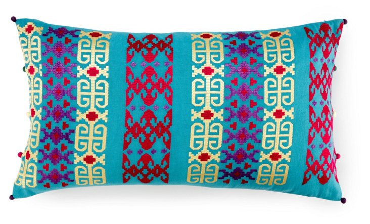 Dotted 14x24 Embroidered Pillow, Teal