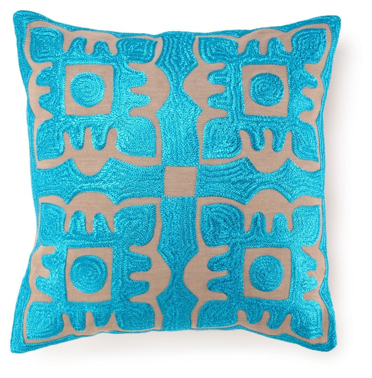 Rich 20x20 Embroidered Pillow, Blue