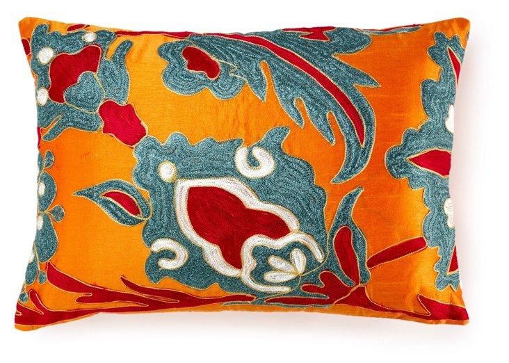Kota 14x20 Embroidered Pillow, Orange