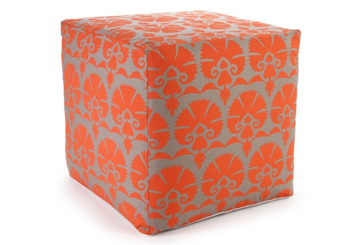 Mandwa Pouf, Orange/Gray