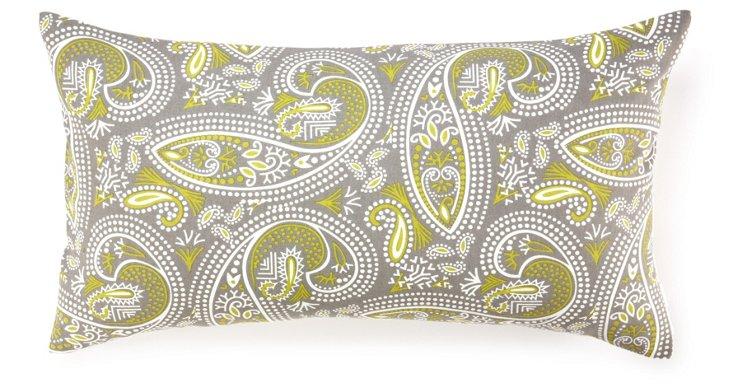 Swirl Paisley 14x24 Cotton Pillow, Green