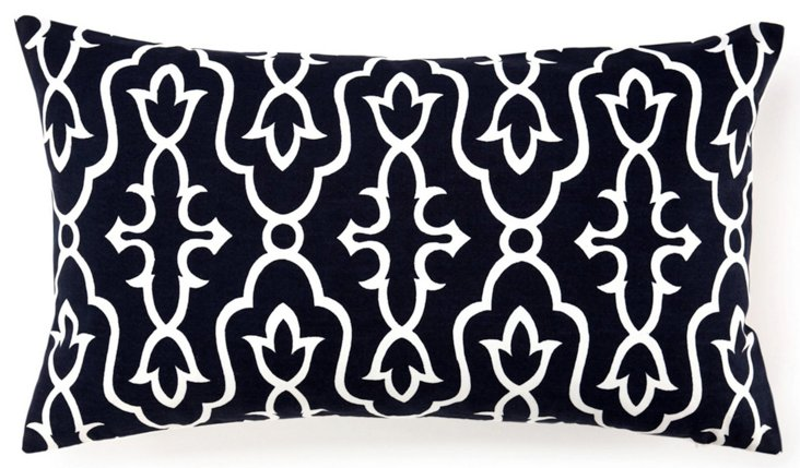 Maira 14x24 Cotton Pillow, Ink Blue