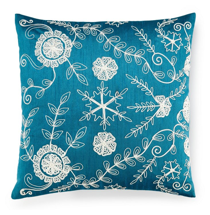 Dori 18x18 Embroidered Pillow, Aqua