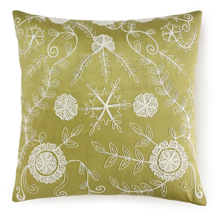 Dori 20x20 Embroidered Pillow, Green
