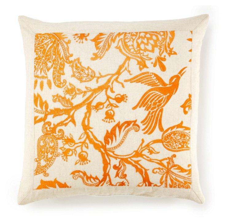 Anna Embroidered Pillow, Orange