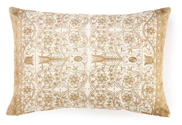 Luxe 14x20 Embroidered Pillow, Gold