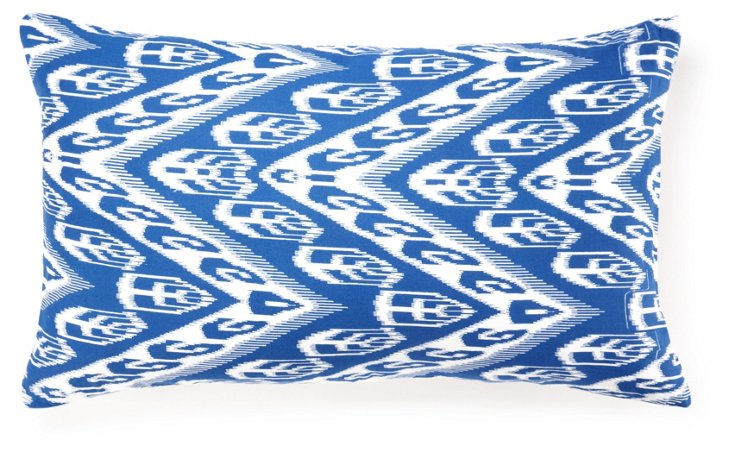 Graphic 14x24 Cotton Pillow, Blue