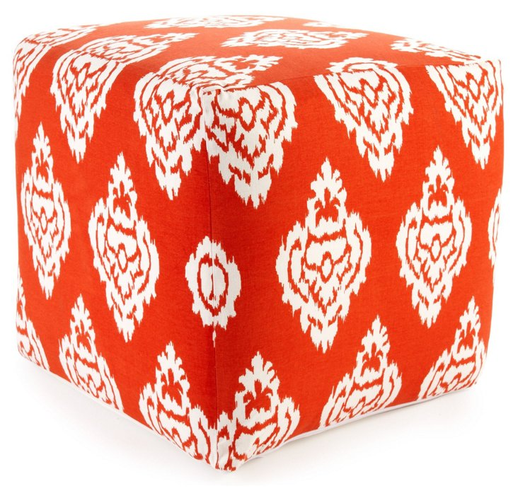 Caroline Ikat Damask Pouf, Orange/White