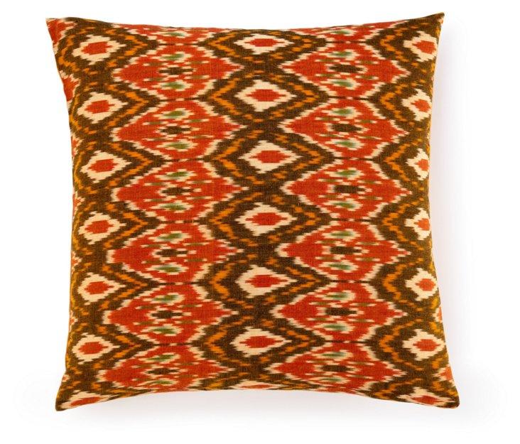 Small Ikat 20x20 Cotton Pillow, Rust