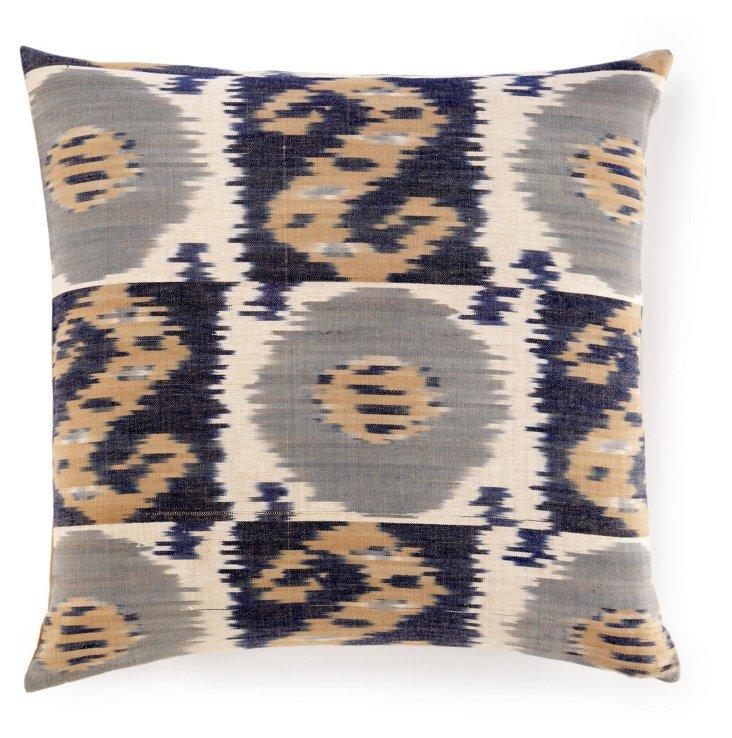 Ikat 20x20 Cotton Pillow, Gray
