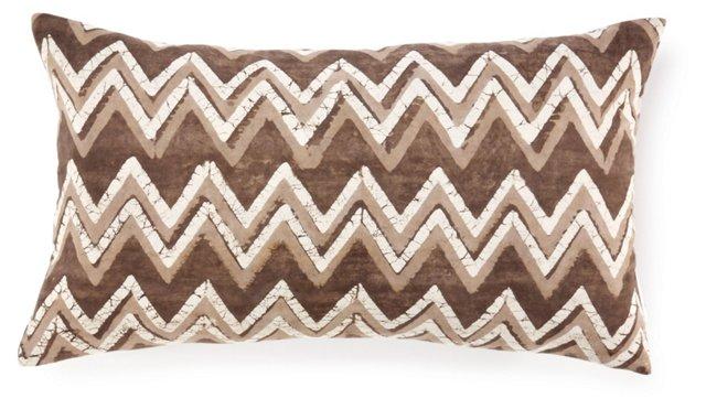 Batik Chevron 14x24 Cotton Pillow, Brown