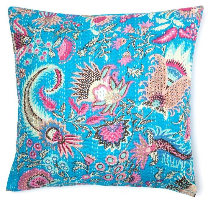 Kantha 20x20 Embroidered Pillow, Aqua