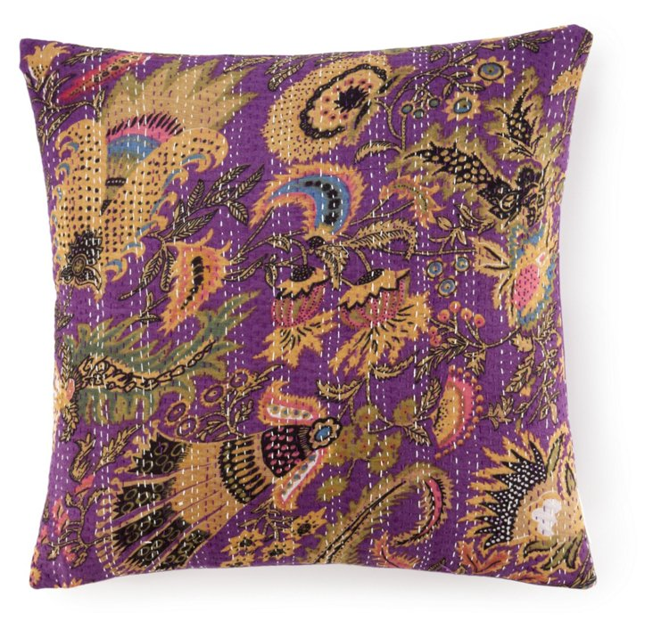 Kantha 20x20 Embroidered Pillow, Purple