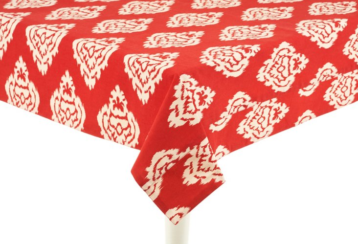 Ikat Damask Tablecloth, Red
