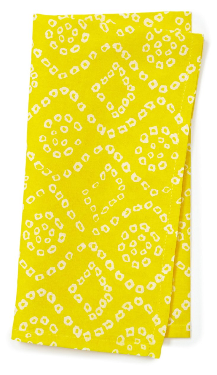 S/6 Bandini Dinner Napkins, Yellow