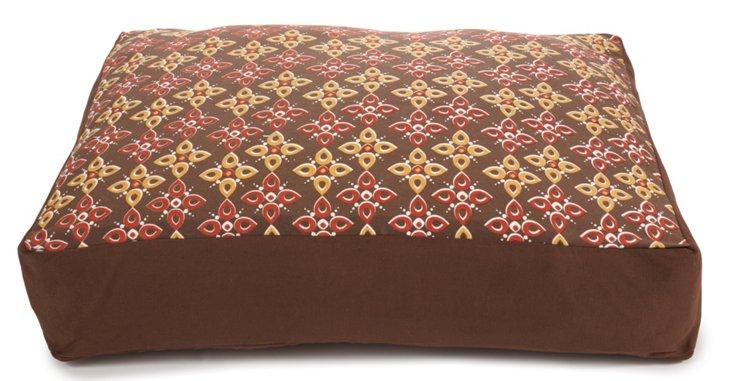 Floral Motif Dog Bed, Brown