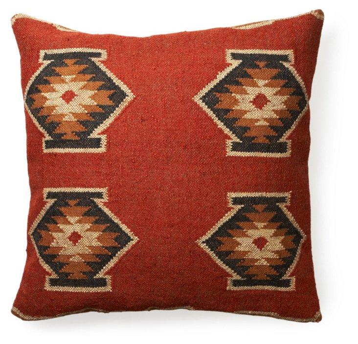 Kilim 30x30 Floor Pillow, Red Rock