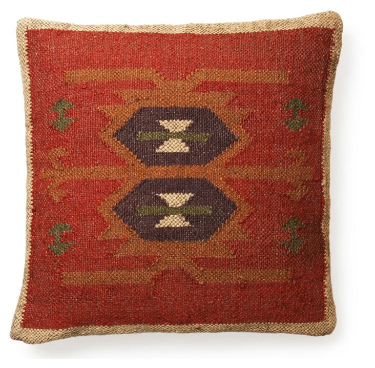 Kilim 20x20 Wool-Blend Pillow, Red