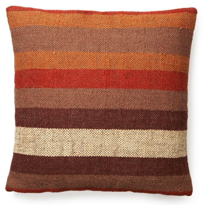 Stripe 20x20 Pillow, Brown/Multi