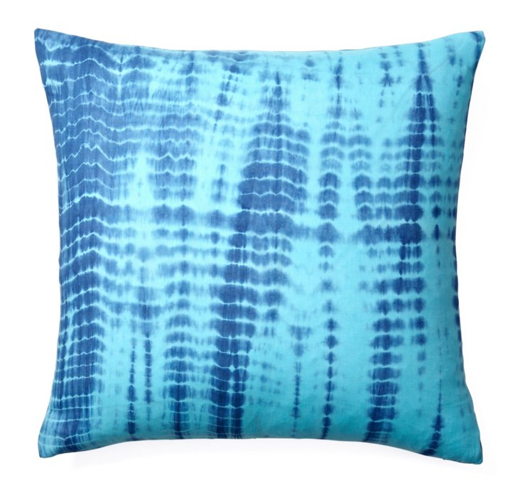 Tie-Dye 20x20 Cotton Pillow, Blue