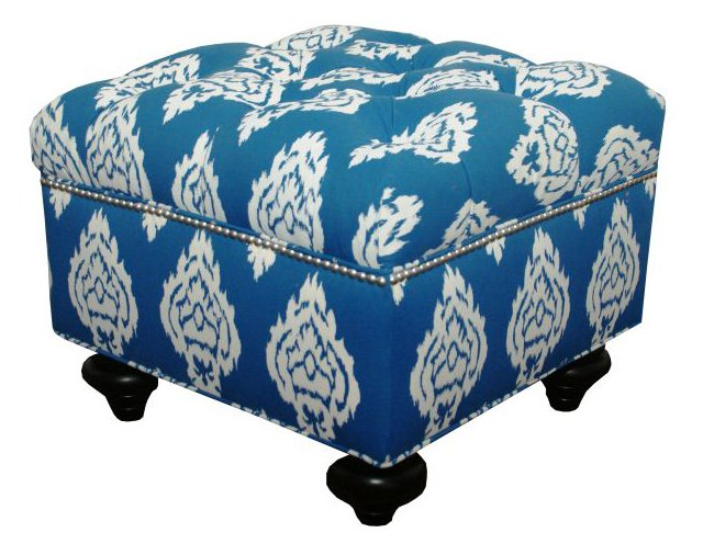 Bella Ikat Tufted Ottoman, Blue
