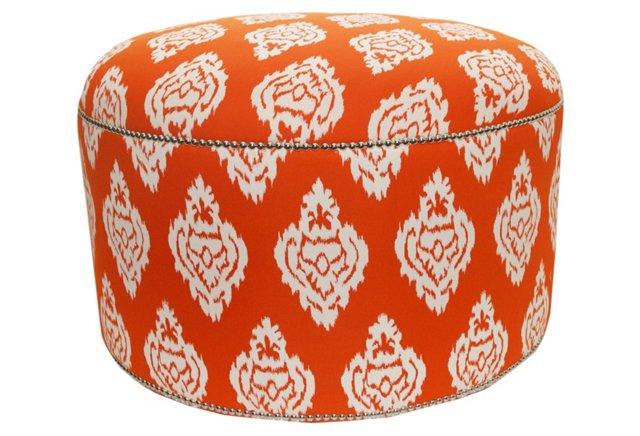 Sophie Round Damask Ikat Ottoman, Orange