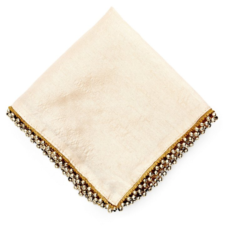 S/4 Beaded Cocktail Napkins, Ivory/Gold