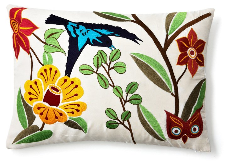 Flowers 14x20 Embroidered Pillow, Multi