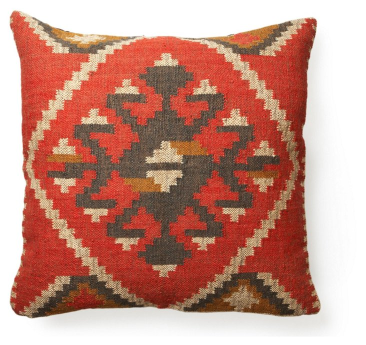 Sun 30x30 Wool-Blend Pillow, Red/Beige