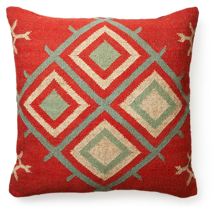 Roads 30x30 Floor Pillow, Red/Beige