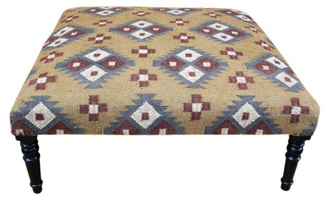 Jameson Kilim-Upholstered Ottoman, Beige