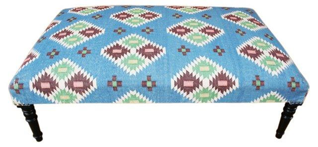 Milo Kilim-Upholstered Ottoman, Blue