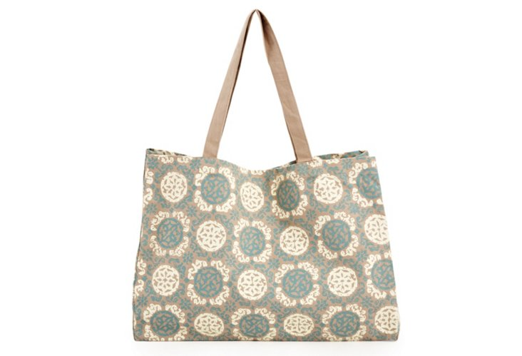 Large Medallion Tote, Silver Gray