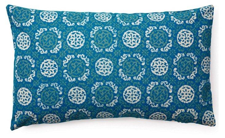 Medallion 14x24 Cotton Pillow, Blue