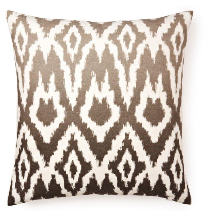 Ombré Ikat 20x20 Cotton Pillow, Gray