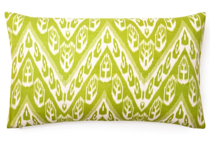 Chevron Ikat 14x24 Cotton Pillow, Green