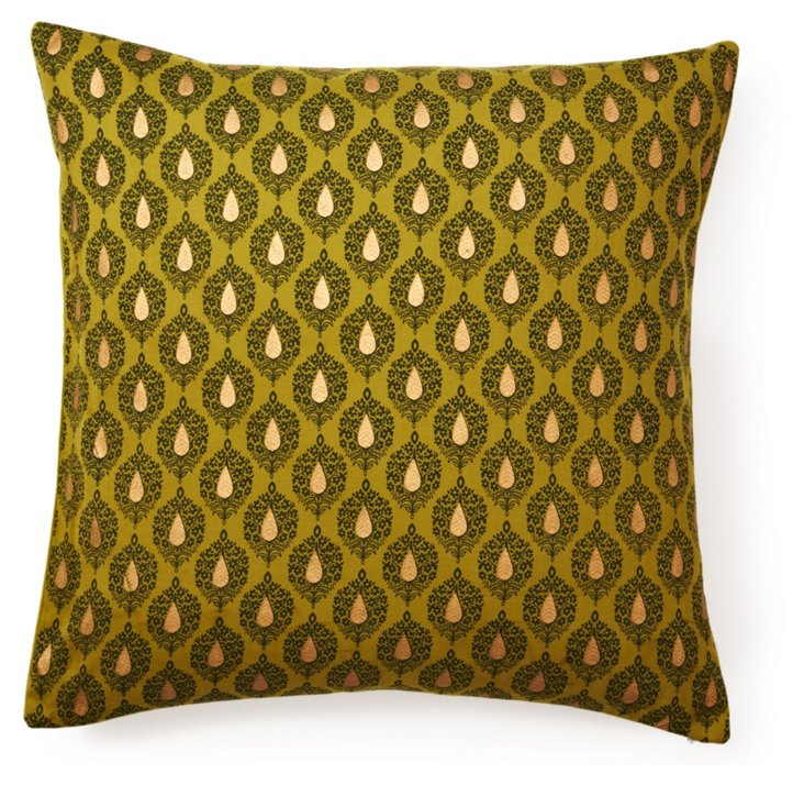 Khari 20x20 Cotton Pillow, Green
